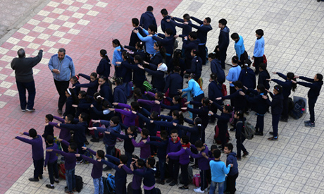 School children line up at start of the day classes in Thamret Al Tawfiq School in Cairo, Egypt Marc
