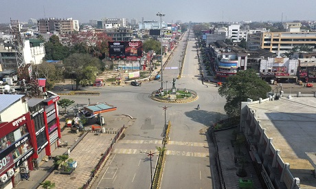View of deserted square in India