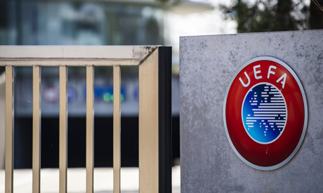 The UEFA logo displayed to the entrance of the UEFA Headquarters, in Nyon, Switzerland, Tuesday, Mar
