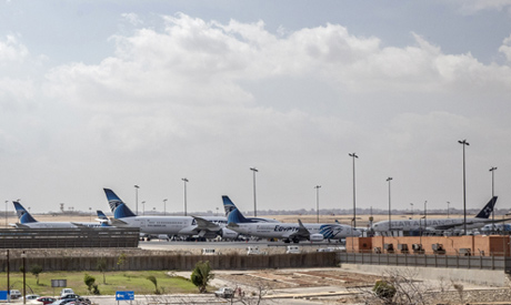Egyptair planes are parked at Terminal 3 of the Cairo International Airport, in Cairo, Egypt. AP