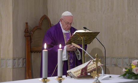 FILE PHOTO: Pope Francis leads the daily Santa Marta Mass at the Vatican, February 27, 2020. (Reuter