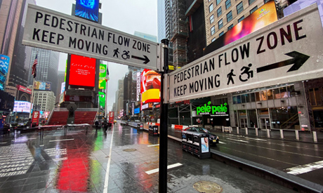 Times Square is seen almost empty as the coronavirus disease (COVID-19) outbreak continues in New Yo