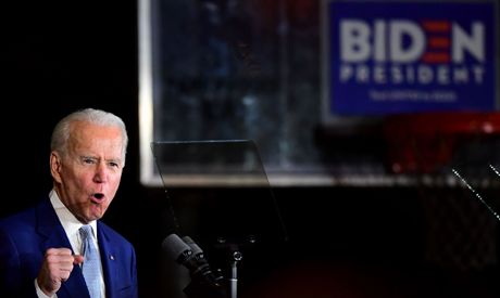 Democratic presidential hopeful former Vice President Joe Biden speaks during a Super Tuesday event