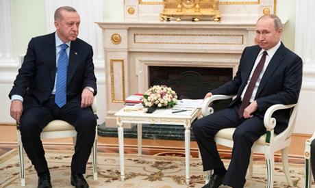 Russian President Vladimir Putin meets with his Turkish counterpart Recep Tayyip Erdogan at the Krem