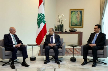 Aoun meeting with Diab and Berri