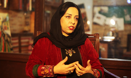 Afghan film producer and director Roya Sadat speaks (AFP)