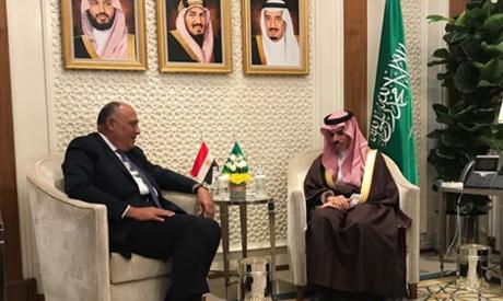 Foreign Minister Sameh Shoukry met with Saudi counterpart Faisal bin Farhan Al-Saud