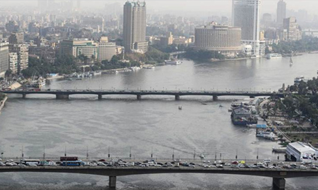 A general view of the 6th of October Bridge (bottom) and Kasr El Nil Bridge (top), which span the Ni