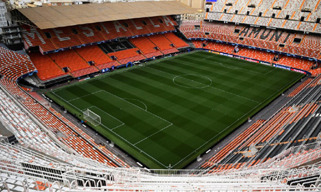 FILE PHOTO: General view inside the stadium before the match which will be played behind closed door