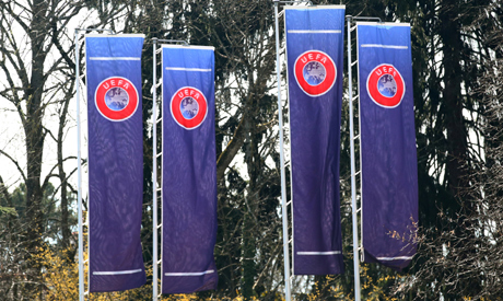 FILE PHOTO: The headquarters of the Union Europenne de Football Amateur (UEFA) is pictured before an