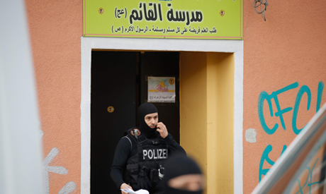 Plice officers secure evidences at the Al-Irschad Mosque during a raid on April 30, 2020 in Berlin,