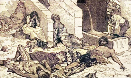 A typical Black Death scene from the Middle Ages