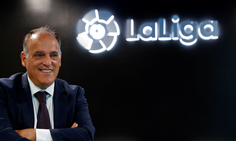 La Liga President Javier Tebas poses during an interview with Reuters at the La Liga headquarters in