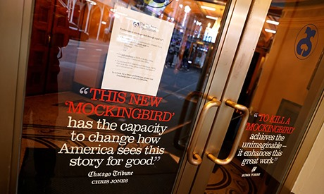 Closed box office of the Shubert Theatre