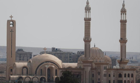 A view of Old Cairo with a mosque minaret and the Great Pyramids following the government instructio