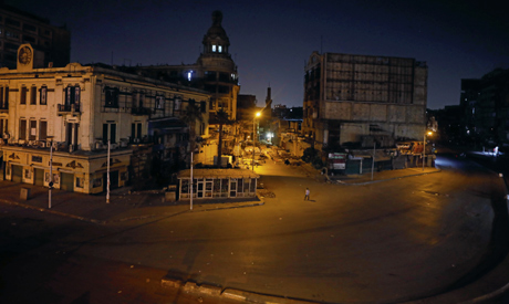A general view for El Ataba square during curfew hours in Cairo, as the outbreak of the coronavirus