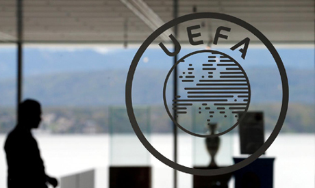 A logo is pictured on UEFA headquarters in Nyon, Switzerland (Reuters)