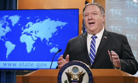 Secretary of State Mike Pompeo speaks about the coronavirus during news conference at the State Depa