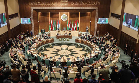 Arab Foreign Ministers take part in their 153rd annual session at the Arab League headquarters in th