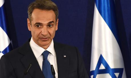 Greek Prime Minister Kyriakos Mitsotakis speaks during a press conference alongside his Israeli coun