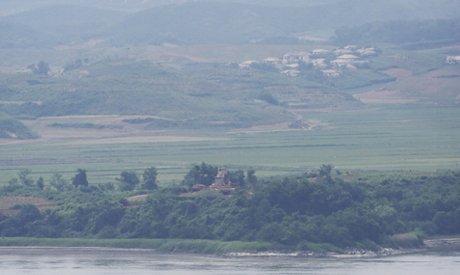 A North Korean military guard post, bottom at center, in North Korea