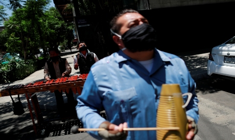 Musicians play the marimba in Mexico City