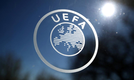 A General view of the UEFA logo at UEFA Headquarters before the draw (Reuters)