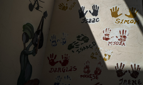 This photograph taken Thursday May 21, 2020, shows the hands of workers who participated in the cons
