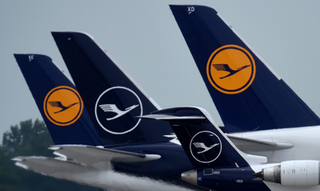 """Aircrafts of German airline Lufthansa are seen at """"Franz-Josef-Strauss"""" airport in Munich, southern"""