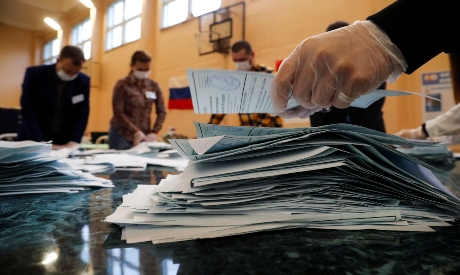 Members of a local electoral commission in Russia