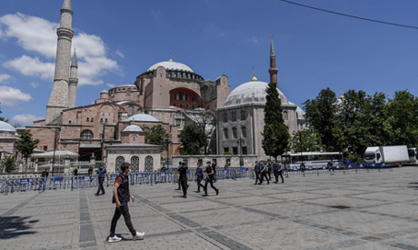 Turkish police officers patrol in front of Hagia Sophia on July 11, 2020 in Istanbul (AFP)