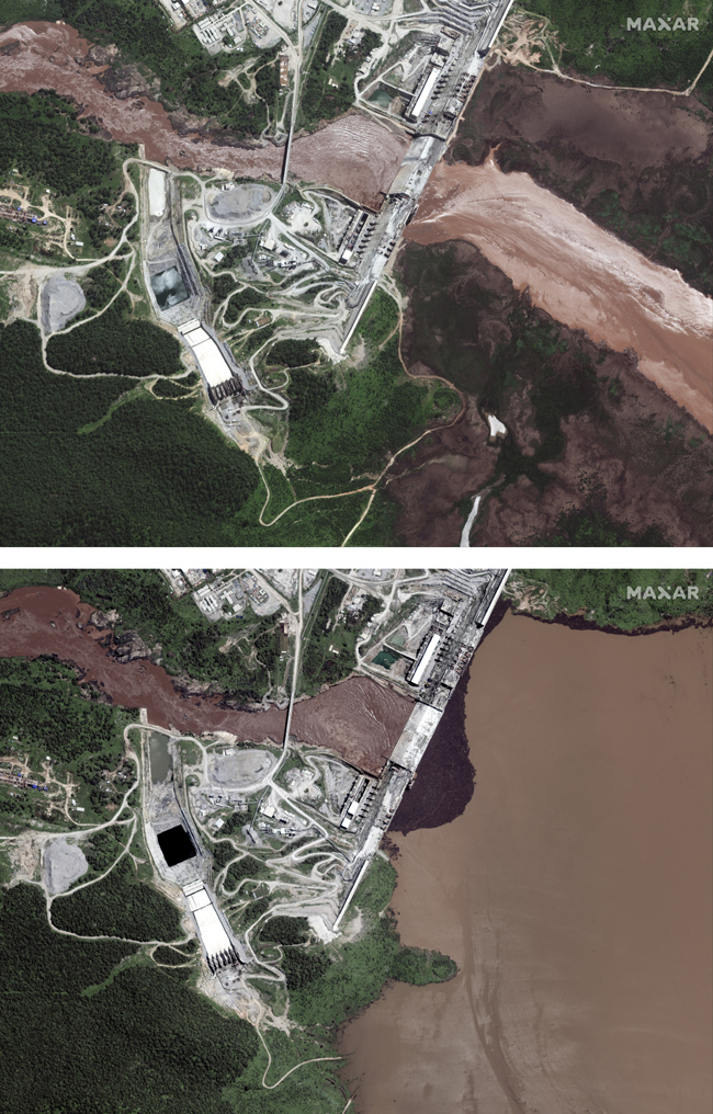 This combination image made from satellite images taken on Friday, June 26, 2020, above, and Sunday,