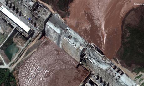 A handout satellite image shows a closeup view of the Grand Ethiopian Renaissance Dam (GERD) and the