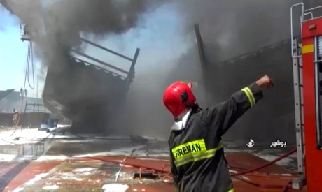 blaze at the Delvar Kashti Bushehr boat factory in the Iran