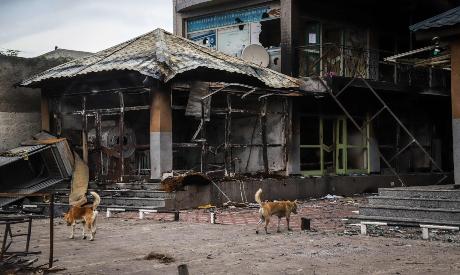 Burned commercial buldings in Ethiopia