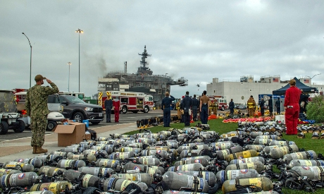 ship USS Bonhomme Richard, which caught fire July 12, at Naval Base San Diego,