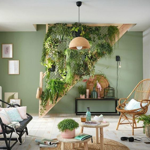 Nature-inspired living space with earthy neutrals tones