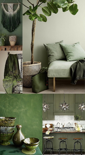 Green earthy tones used as neutrals