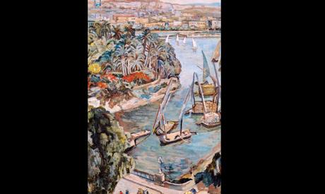 The Nile by El Galaa Bridge, Oil on Canvas