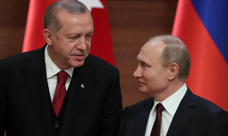 FILE PHOTO - Presidents Tayyip Erdogan of Turkey and Vladimir Putin of Russia hold a joint news conf