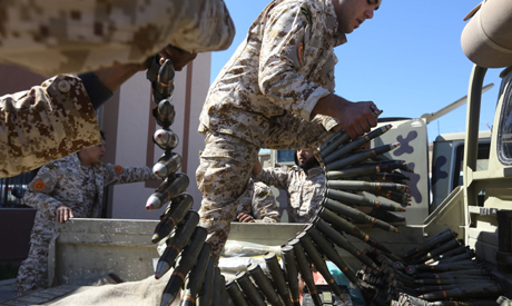 File photo taken on April 08, 2019, fighters from a Misrata armed group loyal to the internationally