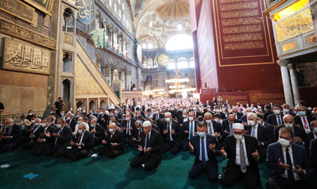 Turkish President Tayyip Erdogan attends Friday prayers at Hagia Sophia Grand Mosque in Istanbul, Tu