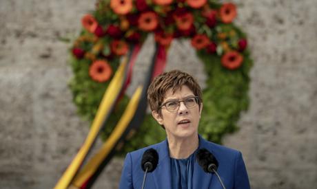 Annegret Kramp-Karrenbauer, German Minister of Defense, delivers her speech at the Ploetzense Lake M