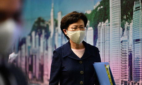 Hong Kong Chief Executive Carrie Lam leaves at the end of a press conference at the government headq