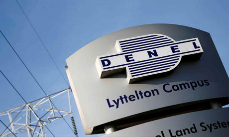 FILE PHOTO: Denel company logo is seen at the entrance of their business divisions in Pretoria, Sout