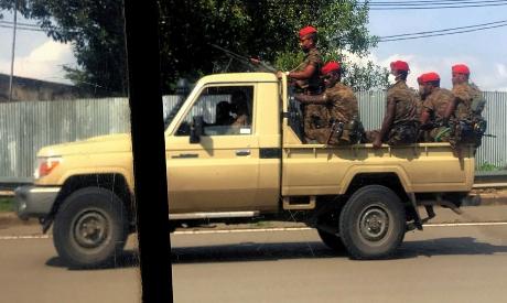 Ethiopian military patrol the streets