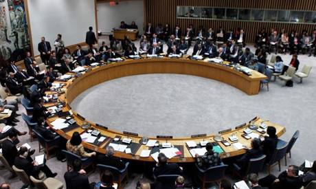 A general view shows a meeting of the United Nations Security Council at the U.N. headquarters
