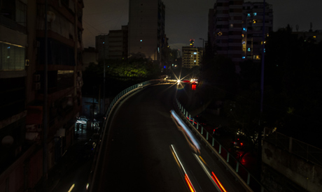 The capital city of Beirut remains in darkness during a power outage, Monday, July 6, 2020. (AP)