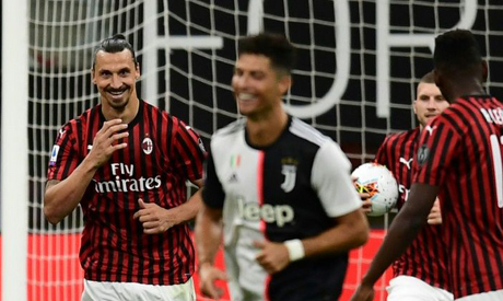 Zlatan Ibrahimovic shared a joke with Cristiano Ronaldo after scoring a penalty that helped AC Milan