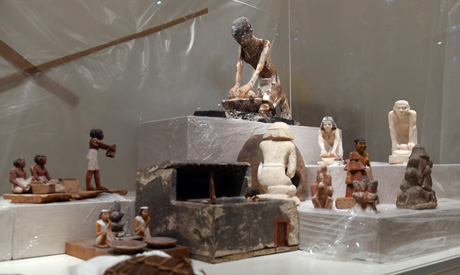 Artefacts on display in the  NMEC's central hall